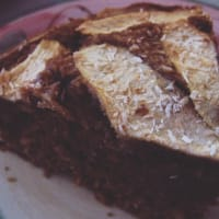 Tasty vegan cake with apples