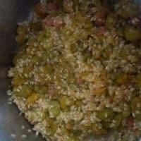 arroz frijoles y tocino paso 1