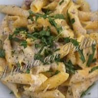 Garganelli with egg speck and rocket step 3