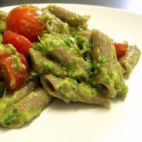 Saracen Grain Pasta With Rucola Pesto, Avocado, Roasted Almonds