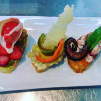 Trilogy of bruschettas and ensaladilla