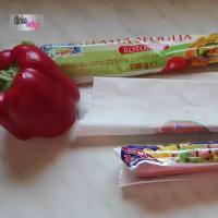 sfoglia ripiena di peperoni, mortadella ,mozzarella e wurstel step 1