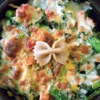 Pasta integral con verduras a la crema