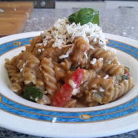 Whole Fusilli, eggplant cream, tomato, zucchini and cottage cheese