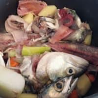 La mitad de las mangas con el calabacín y crema de pescado con pesto paso 2