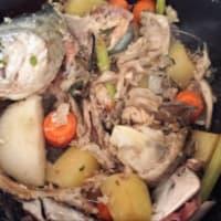 La mitad de las mangas con el calabacín y crema de pescado con pesto paso 3