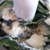 La mitad de las mangas con el calabacín y crema de pescado con pesto paso 5