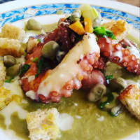 Octopus, broad bean, yogurt and vanilla