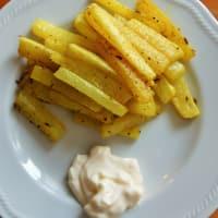 Chips de daikon con semillas de cúrcuma y comino