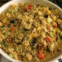 Cous Cous of vegetables, dried fruits, legumes and spices