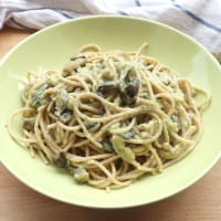 Spaghetti With Burrata Cream And Aubergines