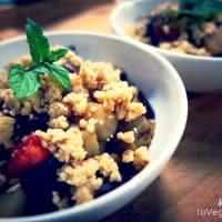 Desmenuzar berenjena y tomates cherry con piñones paso 4
