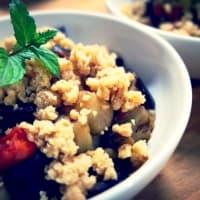 Desmenuzar berenjena y tomates cherry con piñones paso 2