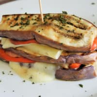 Sandwiches of eggplant and peppers
