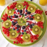 Watermelon pie with fresh fruit and yogurt