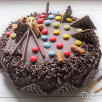 Birthday cake with chocolate sponge cake