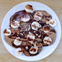 En el Café de la crepe de chocolate de mantequilla de maní