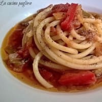 Pasta with eggplant and pepper sauce