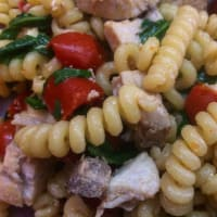 Fusilli sword fish and cherry tomatoes
