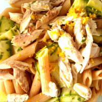 Cold pasta with mackerel and pickled zucchini step 4