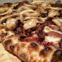 Pizza mushrooms and radicchio