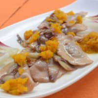 Mezzelune Blurisella, Nuts and Almonds with radicchio, pumpkin and red wine