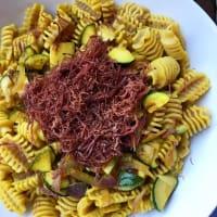 Radiadores con azafrán, el calabacín y carnes de caballos