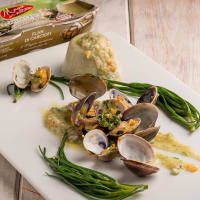 Flan of artichokes with agretti and sauté of clams with aromatic herbs