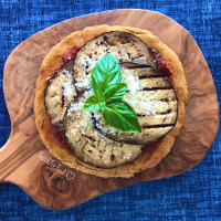 Pizza pancake with eggplant parmigiana chickpeas