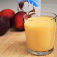 Shredded peach nectarine and coconut milk