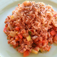 Rice with vegetable bolognese