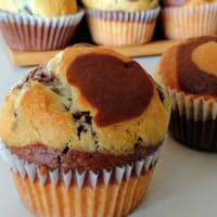 leche y chocolate muffin de cebra