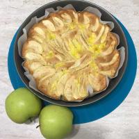 pastel de manzana y crema pastelera