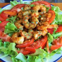 Frozen salad with shrimp