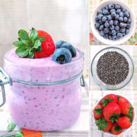 Soy yogurt with strawberries, blueberries and chia seeds
