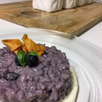 Cranberry risotto and smoked scamorza