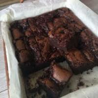 Brownies de chocolate y frambuesas