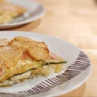 Milhojas de patatas con calabacín, queso y jamón paso 5