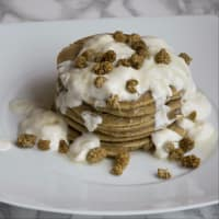 Pancakes with yogurt and mulberry