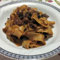 Pappardelle with black olives and cucuns sauce