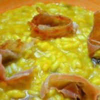 Risotto con calabaza, jamón de Parma y pasas de uva