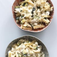 Pasta with zucchini and feta