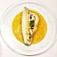 Sea bass with dried fruit and pumpkin cream