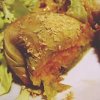 Cabbage rolls with pumpkin cream and chickpeas