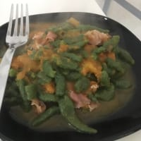 Gnocchi of pumpkin spinach and speck