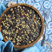 Pera y tarta de chocolate sin mantequilla y productos lácteos paso 9