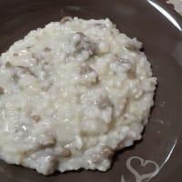 risotto blanco con salchichas