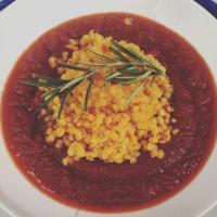 Sopa de remolacha y calabaza con Lentejas rojas