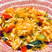 Basmati rice with vegetables and shrimp