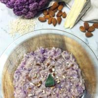 Risotto con la coliflor púrpura, brie y almendras